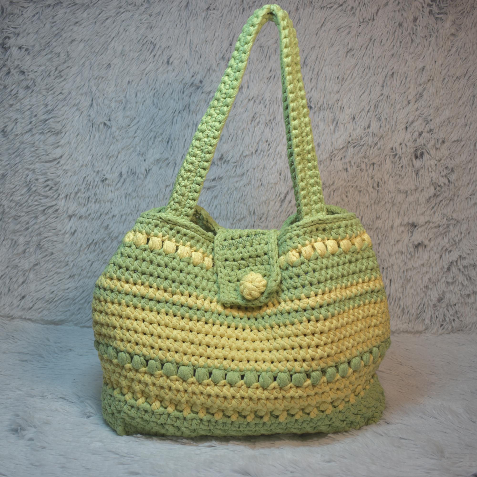 Zelenožlutá háčkovaná kabelka cad08b88de5